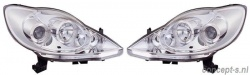Koplampen chroom Peugeot 107 6/2005-model 2012 met LED ringen