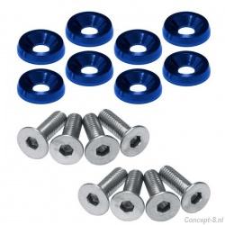 Fender washers blauw diameter 24 mm met rvs M6 boutjes lengte 12 mm set a 8 stuks