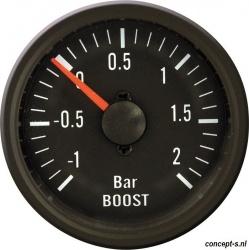 Turbodrukmeter -1 tot 2 bar. Diameter 52 mm. Zwart