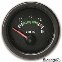 Voltmeter 8 tot 16 Volt. Diameter 52 mm. Zwart