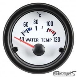 Watertemperatuurmeter 40 tot 120 graden Celsius. Diameter 52 mm. Wit met zwarte rand.