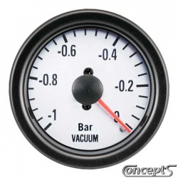 Vacuummeter -1 tot 0.2 bar. Diameter 52 mm. Wit met zwarte rand.