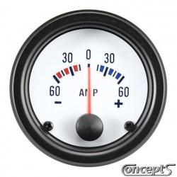 Amperemeter -60 tot 60 amp. Diameter 52 mm. Wit met zwarte rand.