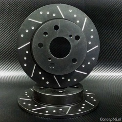Remschijven achter zwart gegroefd-geput Suzuki Swift FZ-NZ 1.6 Sport januari 2012-