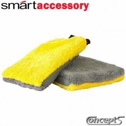 SmartWax Washmitt Yellow-Grey -de zachte microfiber washandschoen- 225x180mm