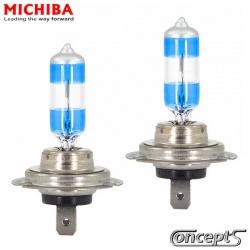 Halogeen autolampen NightPremium SuperWhite H7 55 Watt 3500K 12 Volt - 2 stuks in box. Made by Michiba