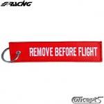 Sleutelhanger REMOVE BEFORE FLIGHT rood-wit 150 x 35 mm