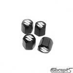 Ventieldopjes zwart geanodiseerd-chroom S set a 4 stuks