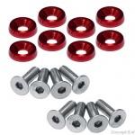 Fender washers rood diameter 24 mm met rvs M6 boutjes lengte 12 mm set a 8 stuks