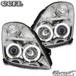 Angel eye koplampen chroom met CCFL ringen Suzuki Swift MZ 5.2005-9.2010 en Sport 9.2006-12.2011