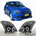 Angel eye koplampen ZWART met LED ringen Suzuki Swift MZ 5.2005-9.2010 en Sport 9.2006-12.2011