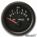 Oliedrukmeter 0 tot 10 bar. Diameter 52 mm. Zwart