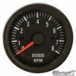 Toerenteller tot 8000 rpm. Voor 4-6-8 cilinder. Diameter 52 mm. Zwart