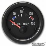 Olietemperatuurmeter 50 tot 150 graden Celsius. Diameter 52 mm. Zwart