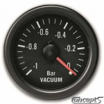 Vacuummeter -1 tot 0.2 bar. Diameter 52 mm. Zwart