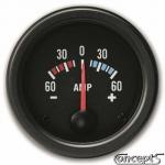 Amperemeter -60 tot 60 amp. Diameter 52 mm. Zwart