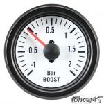 Turbodrukmeter -1 tot 2 bar. Diameter 52 mm. Wit met zwarte rand.