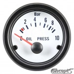 Oliedrukmeter 0 tot 10 bar. Diameter 52 mm. Wit met zwarte rand.