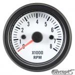 Toerenteller tot 8000 rpm. Voor 4-6-8 cilinder. Diameter 52 mm. Wit met zwarte rand.