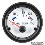 Olietemperatuurmeter 50 tot 150 graden Celsius. Diameter 52 mm. Wit met zwarte rand.