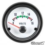 Voltmeter 8 tot 16 Volt. Diameter 52 mm. Wit met zwarte rand.