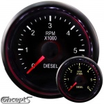 Diesel toerenteller 0-6000 RPM 4-6-8 cilinder 52 mm 2-color LED