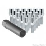 Wielbouten set chroom M12x1.5. Draadengte 22mm. Set van 16 stuks incl speciale sleutel